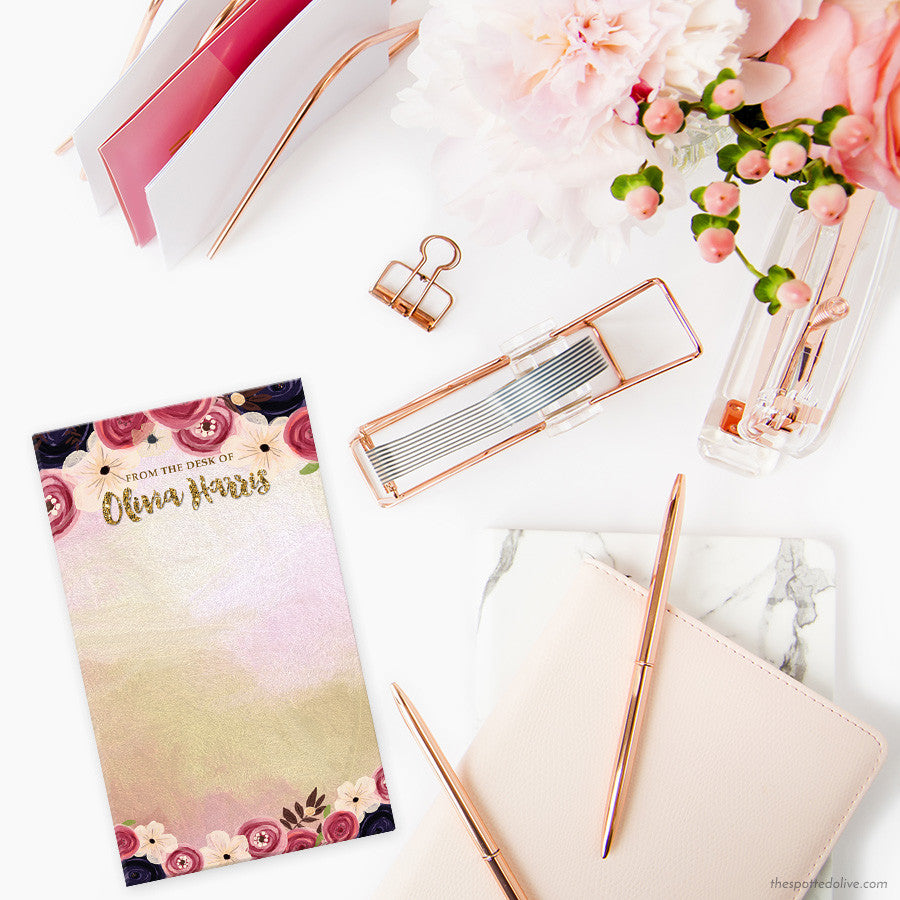 Watercolor Flowers Personalized Notepads by The Spotted Olive - Scene