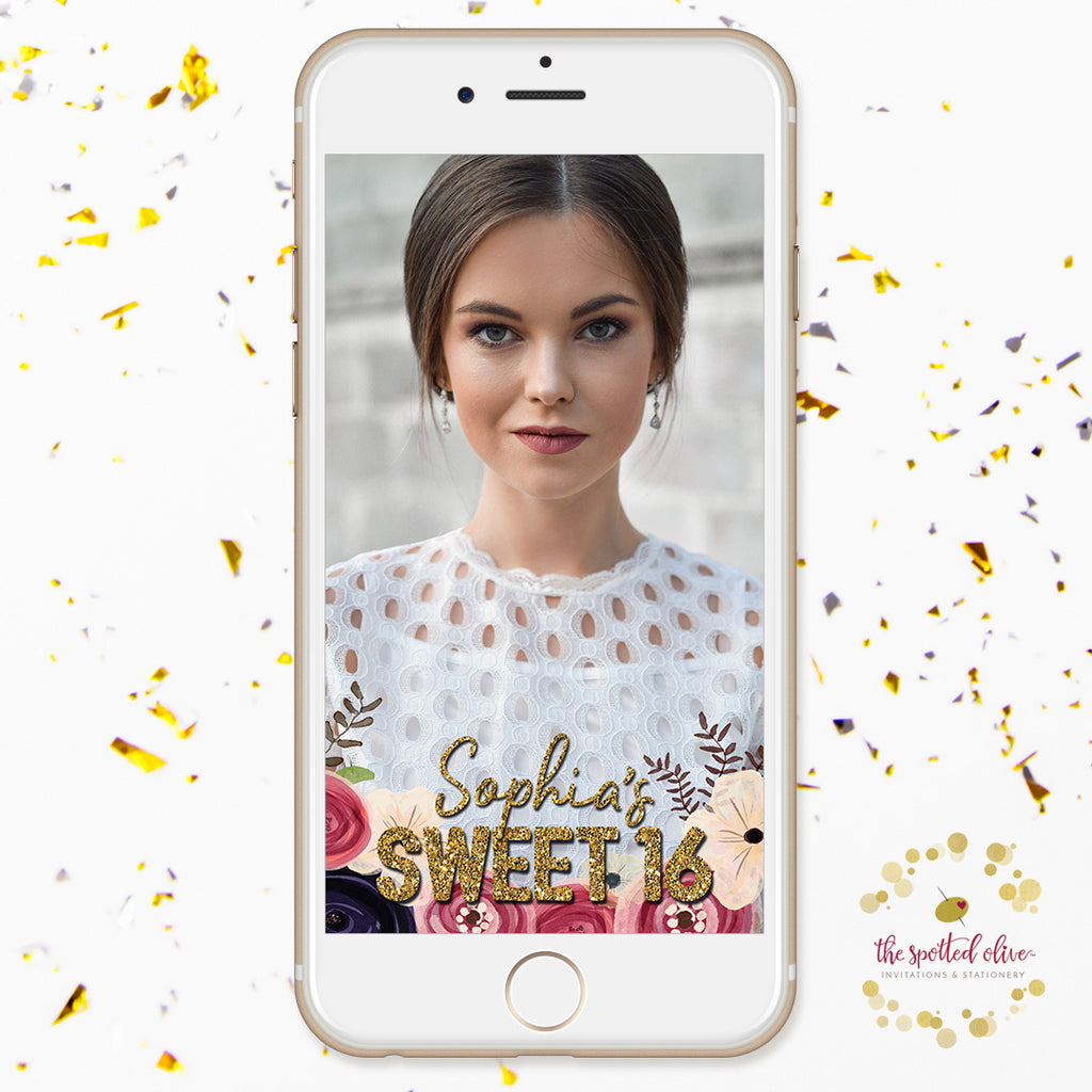 Watercolor Floral Sweet 16 Personalized Snapchat Geofilter by The Spotted Olive