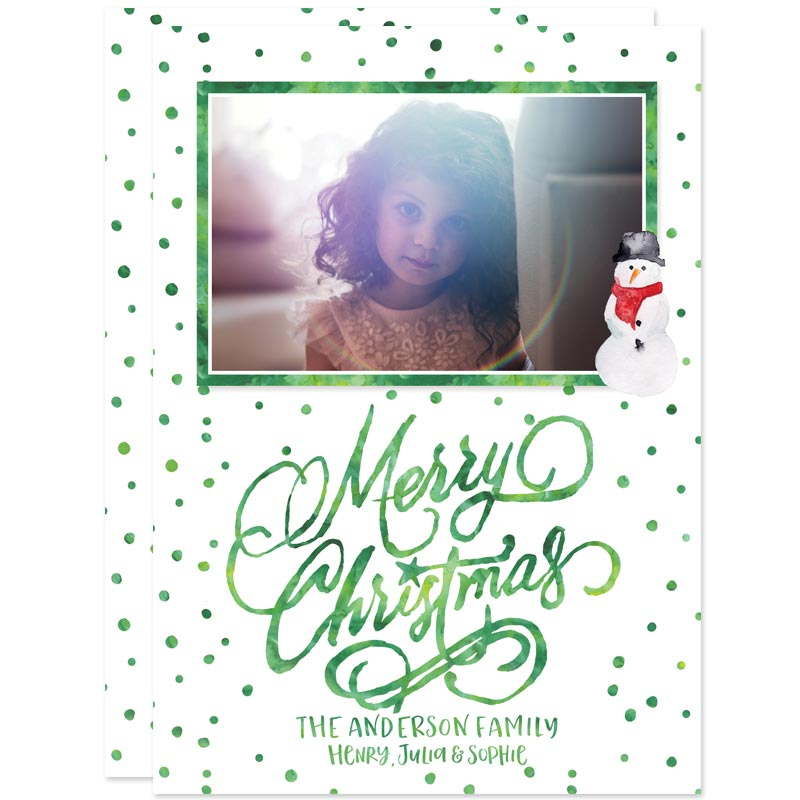 Watercolor Merry Christmas Holiday Photo Cards by The Spotted Olive