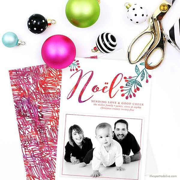 Watercolor Noël Holiday Photo Cards by The Spotted Olive - Scene
