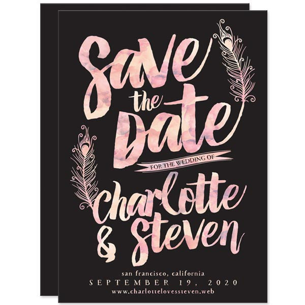 Watercolor Peacock Feathers Save the Dates by The Spotted Olive