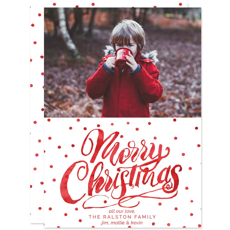 Watercolor Polka Dots Christmas Photo Cards by The Spotted Olive