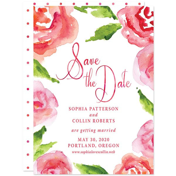Watercolor Rose Garden Save The Dates by The Spotted Olive