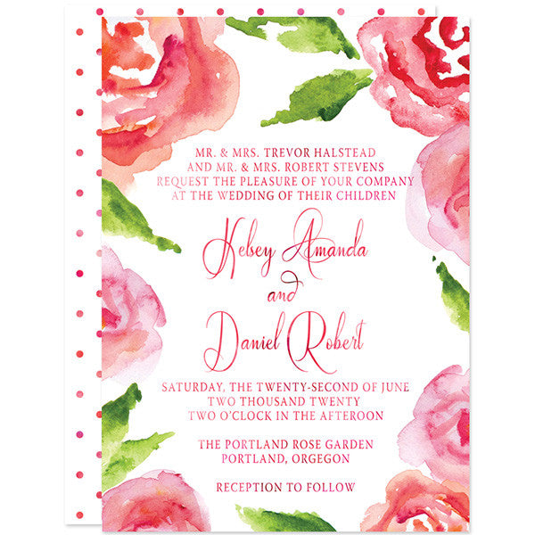 Watercolor Rose Garden Wedding Invitations by The Spotted Olive