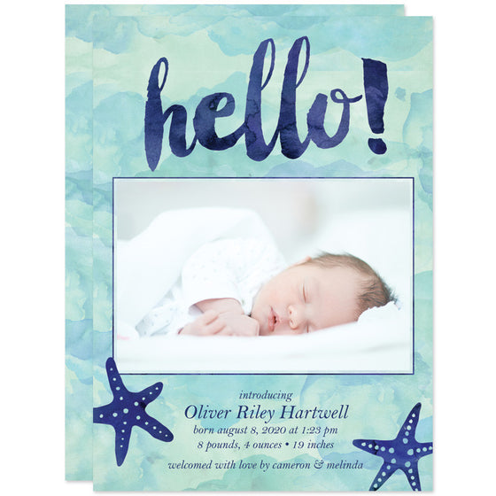 Blue & Teal Watercolor Starfish Hello Birth Announcements front