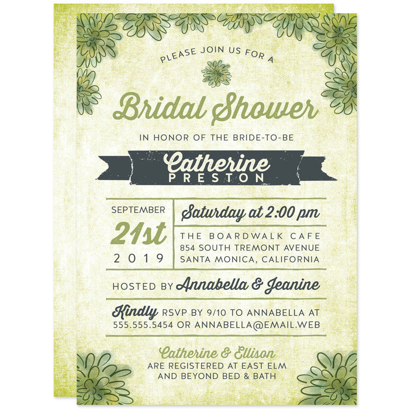 Watercolor Succulent Bridal Shower Invitations
