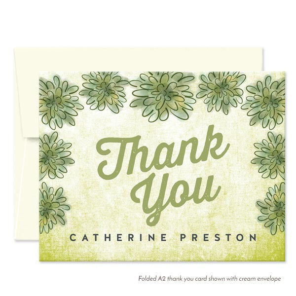 Personalized Watercolor Succulent Thank You Cards by The Spotted Olive - Cream Envelopes