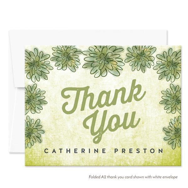 Personalized Watercolor Succulent Thank You Cards by The Spotted Olive - White Envelopes