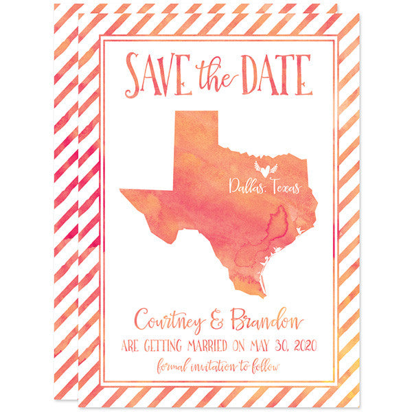 Watercolor Texas Shape Save The Date Cards by The Spotted Olive