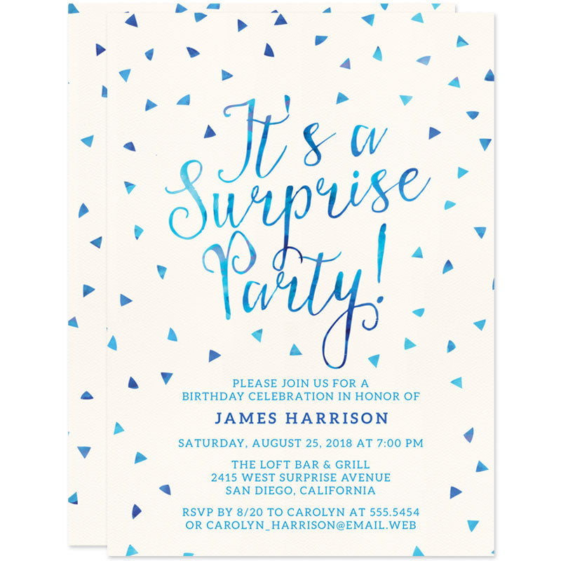 Surprise Party Invitations - Watercolor Triangles | The Spotted ...