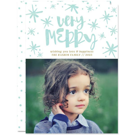 Watercolor Very Merry Holiday Photo Cards by The Spotted Olive