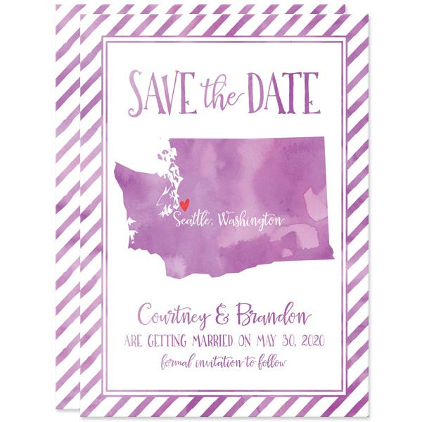 Watercolor Washington State Save The Dates by The Spotted Olive