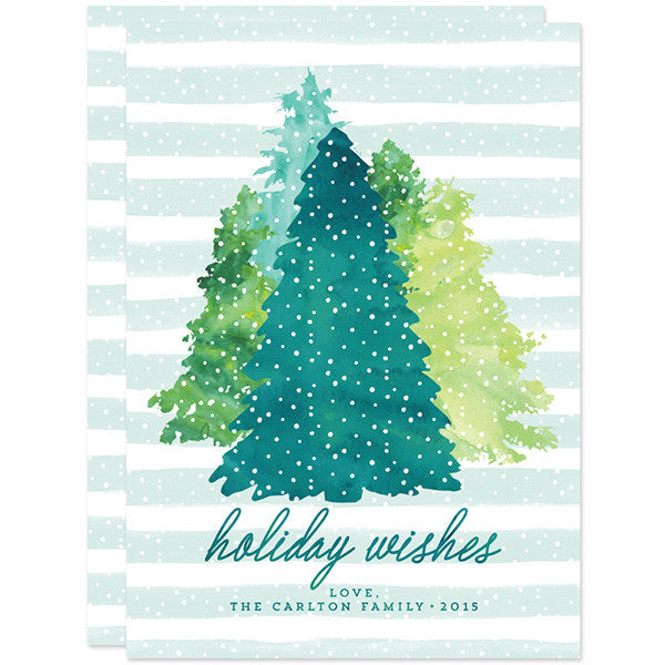 Watercolor Winter Evergreens Non-Photo Holiday Cards by The Spotted Olive