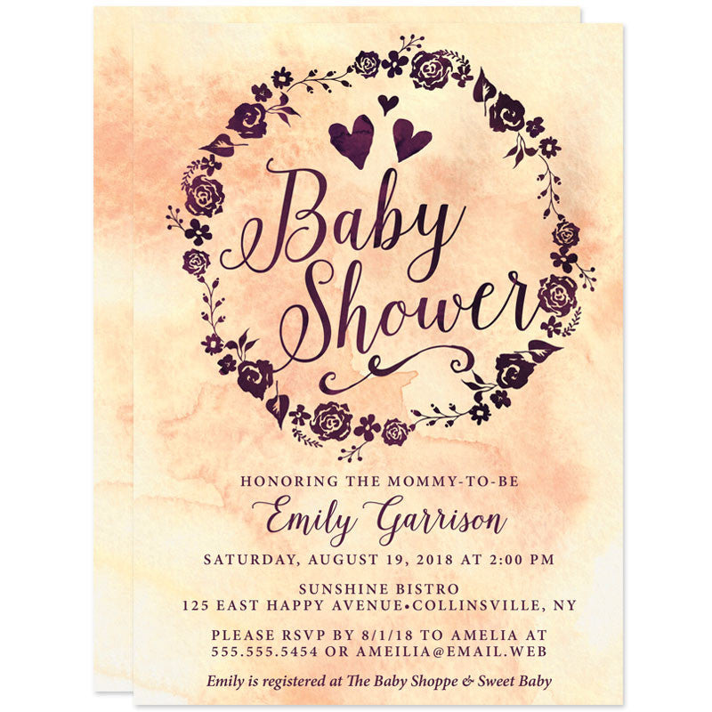 Baby Shower Invitations - Purple & Peach Watercolor Wreath - The Spotted Olive