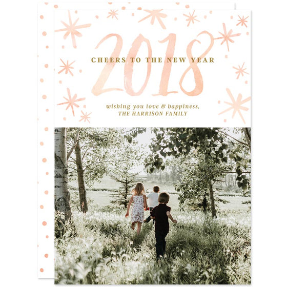 Watercolor Year New Year Photo Cards by The Spotted Olive