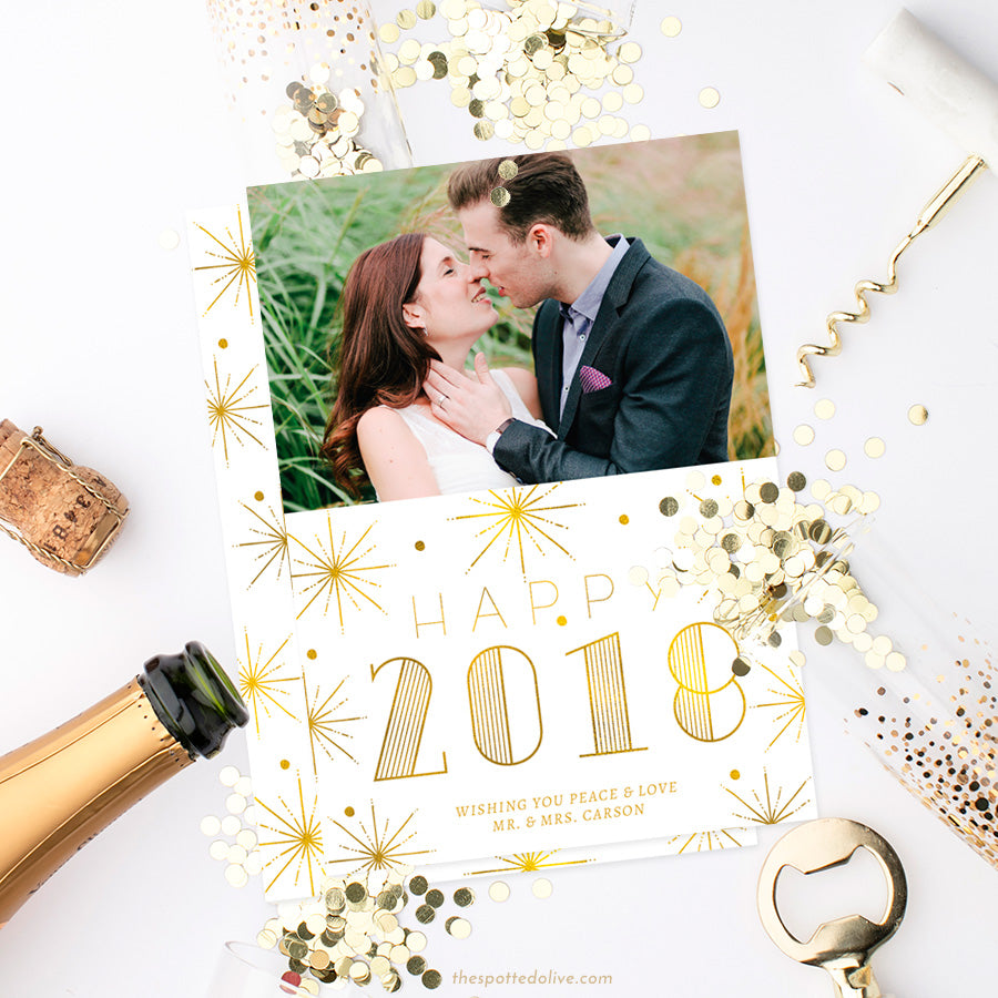 White & Gold Bursts New Year Photo Cards by The Spotted Olive