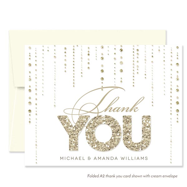 White & Gold Streaming Gems Personalized Thank You Cards by The Spotted Olive - Cream Envelope