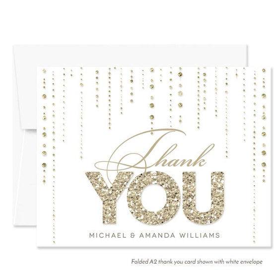 White & Gold Streaming Gems Personalized Thank You Cards by The Spotted Olive - White Envelope