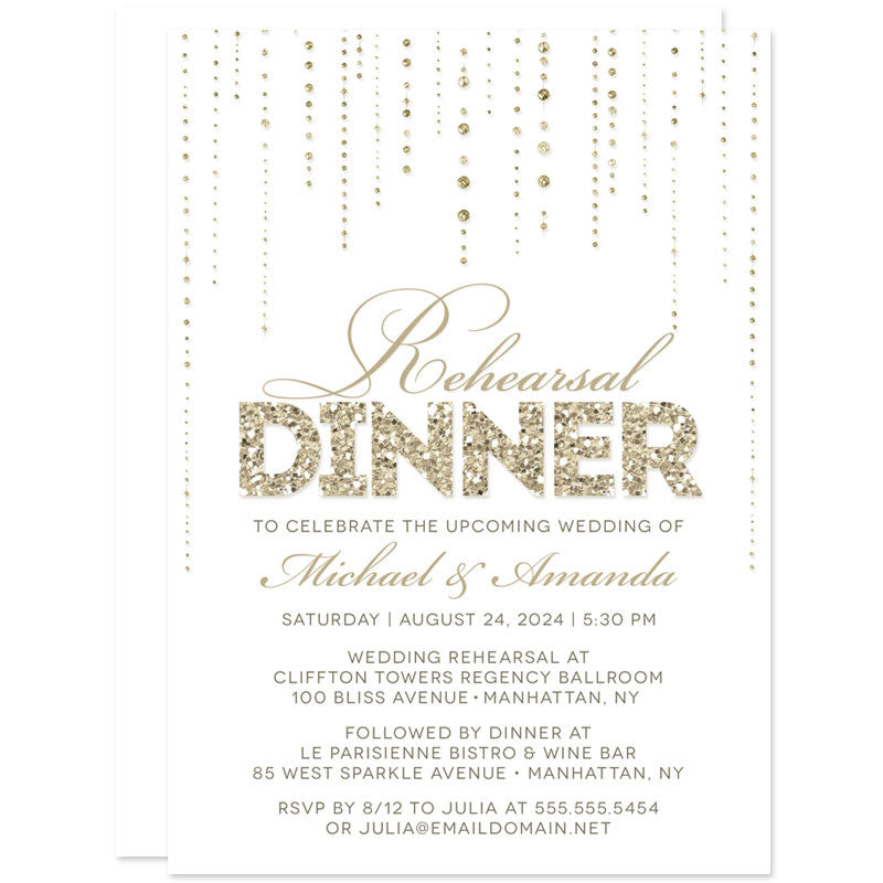 Rehearsal Dinner Invitations White Gold Gems The Spotted Olive