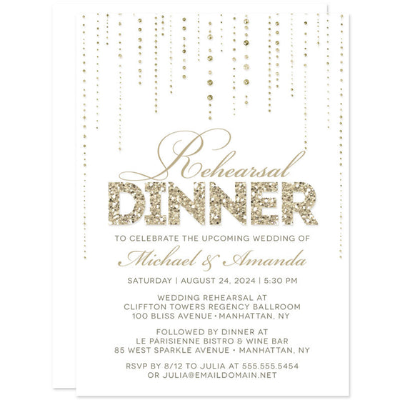 White & Gold Streaming Gems Rehearsal Dinner Invitations by The Spotted Olive