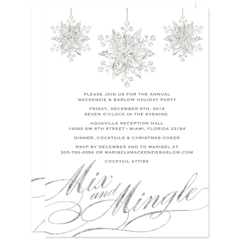 White & Silver Mix and Mingle Holiday Party Invitations by The Spotted Olive - Front