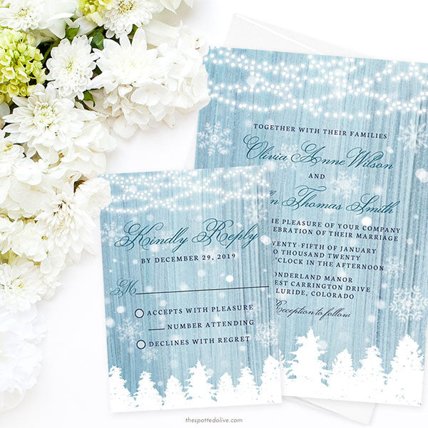 Winter Wonderland Wedding Invitations by The Spotted Olive - Scene