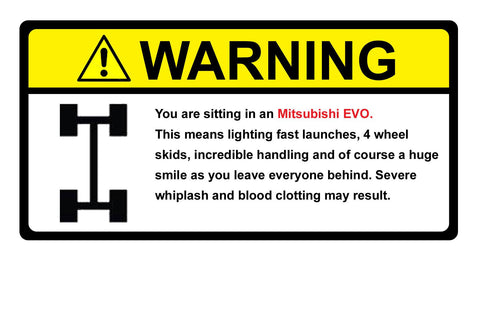 Warning Label Mitsubishi Evo
