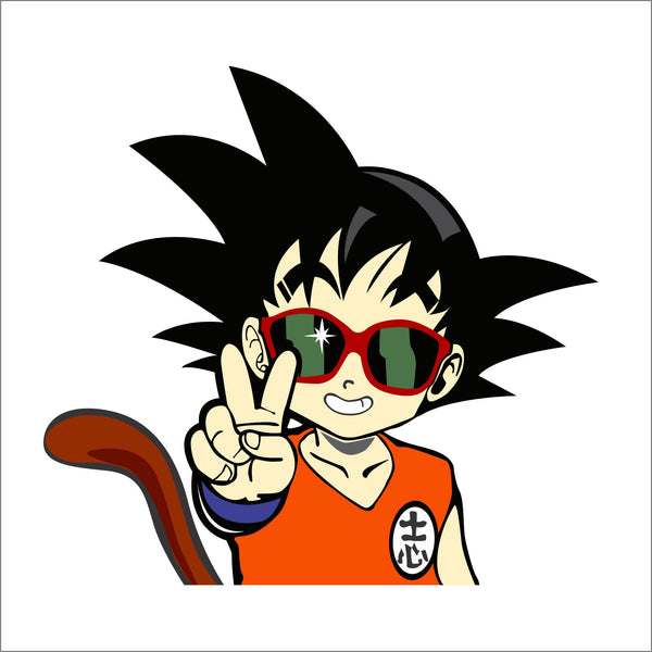 Young Goku Peace Sign Sticker
