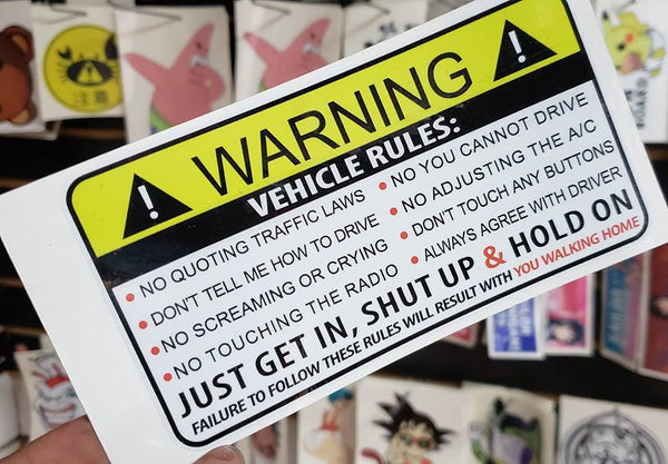 Warning Label Vehicle Rules