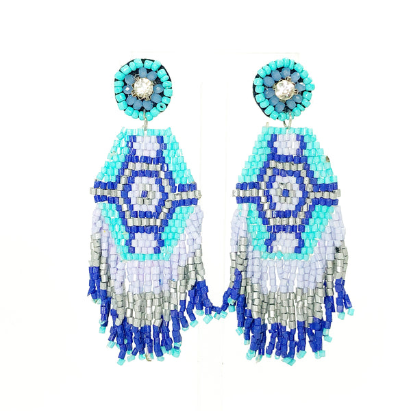 Tribal Fringe Earrings - Turquoise