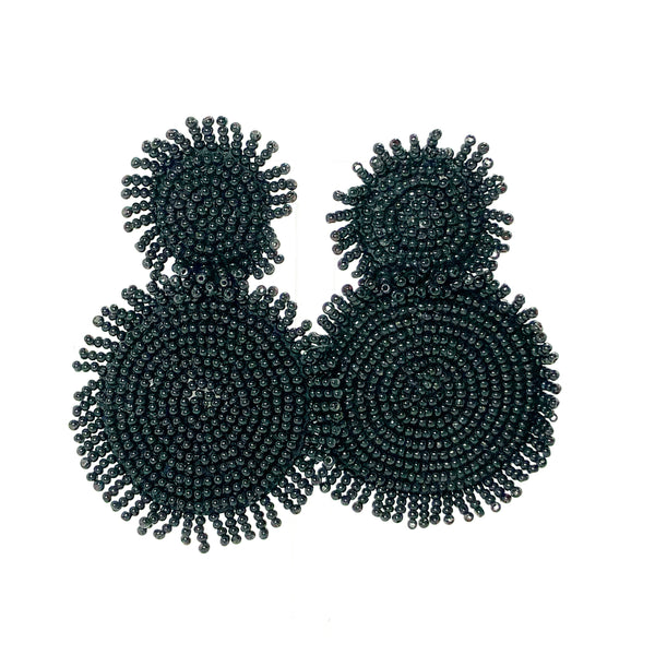 Circle Fringe Earrings - Black