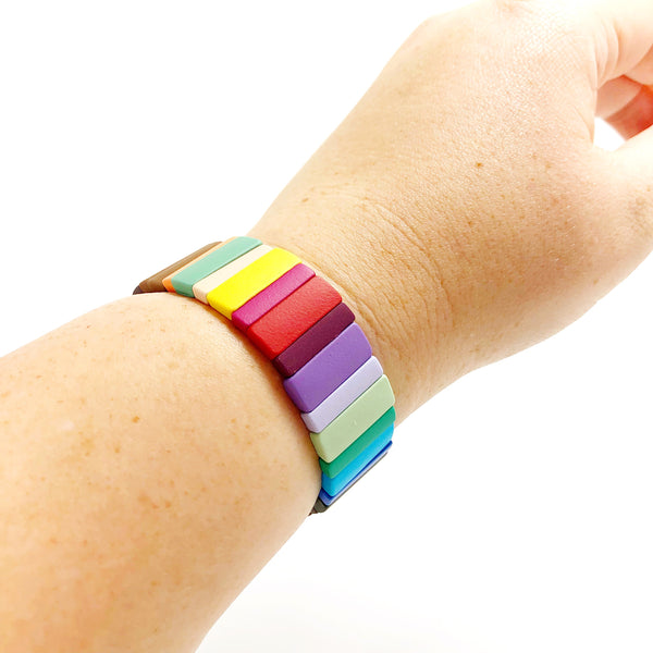 Large Rainbow Metal Bracelet