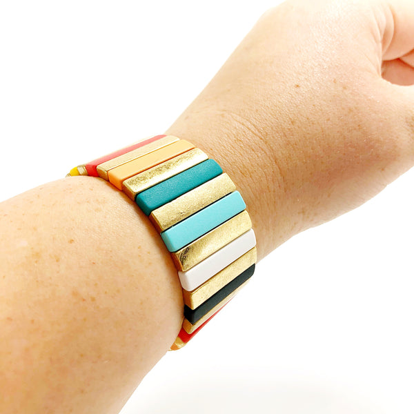 Large Gold and Rainbow Metal Bracelet