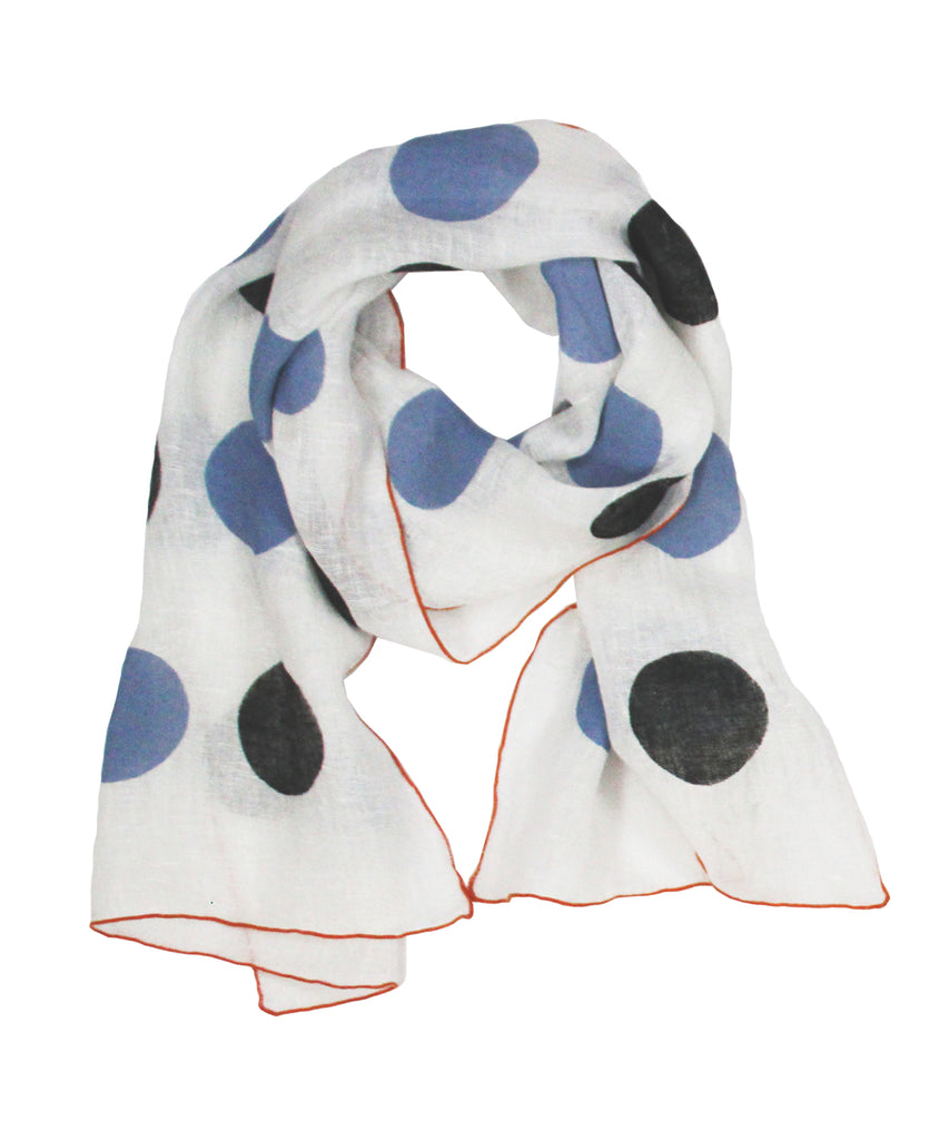 Scarf - 2 Dot Chicory & Black