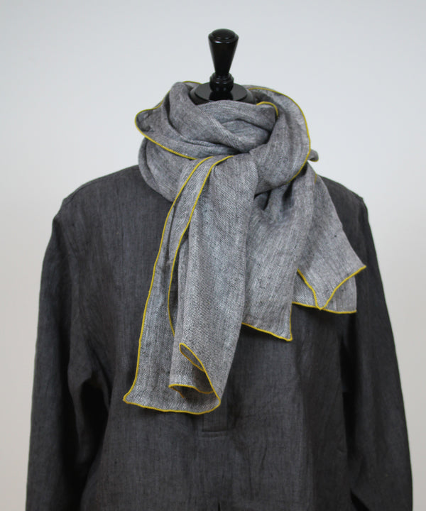 NEW Scarf- Charcoal with Citron Edging
