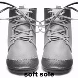 Metal grey lace up boots with rubber sole