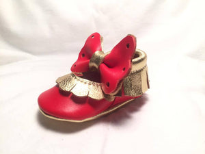 Red baby angel Mary Janes with red sole