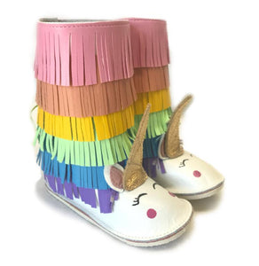 Unicorn kids fringe boots with rubber sole, boho fringe booties