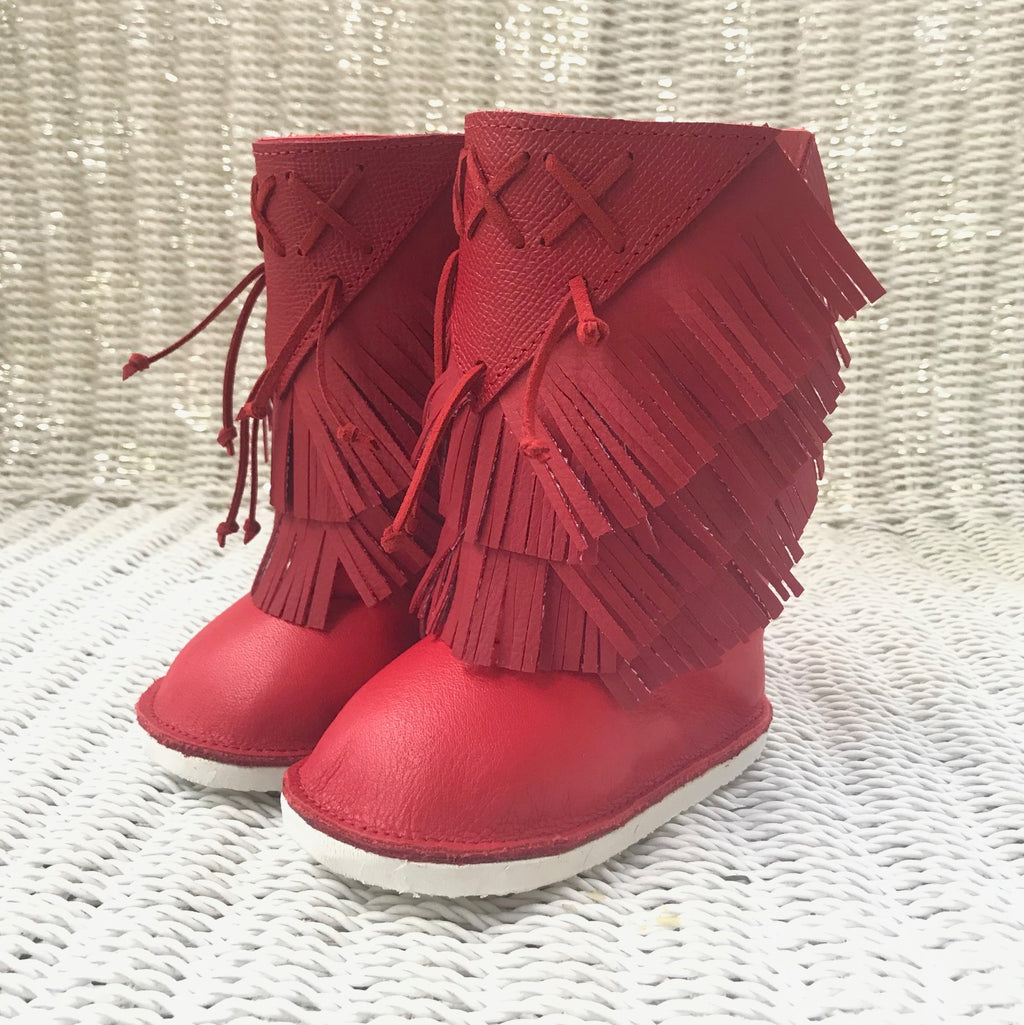 Red Boho fringe booties