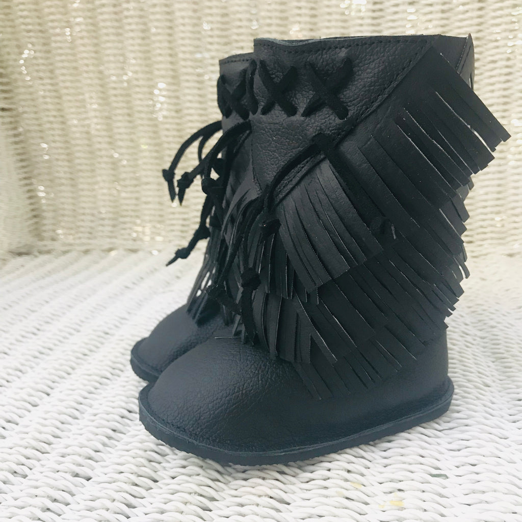 Black Boho fringe booties