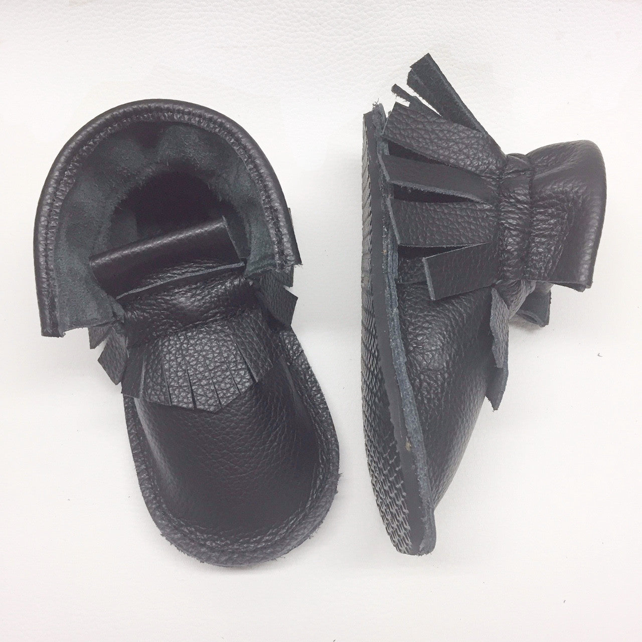 black genuine leather high top moccasins, mini boots with rubber or soft sole