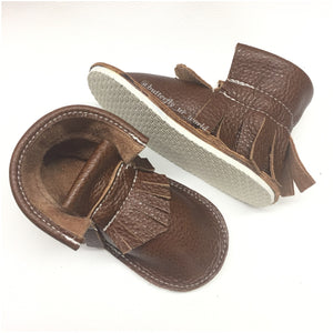 Brown chestnut genuine leather high top moccasins, mini boots with rubber or soft sole
