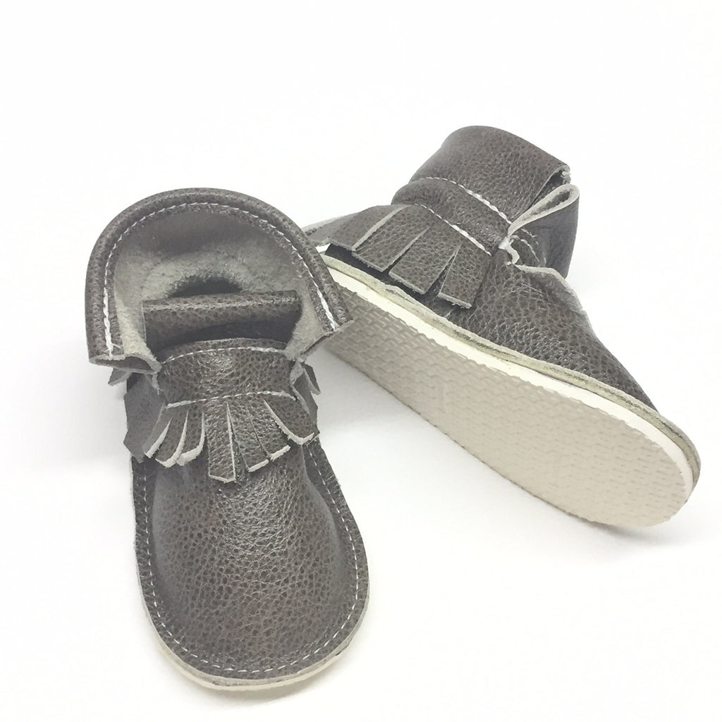 metal grey genuine leather high top moccasins, mini boots with rubber or soft sole