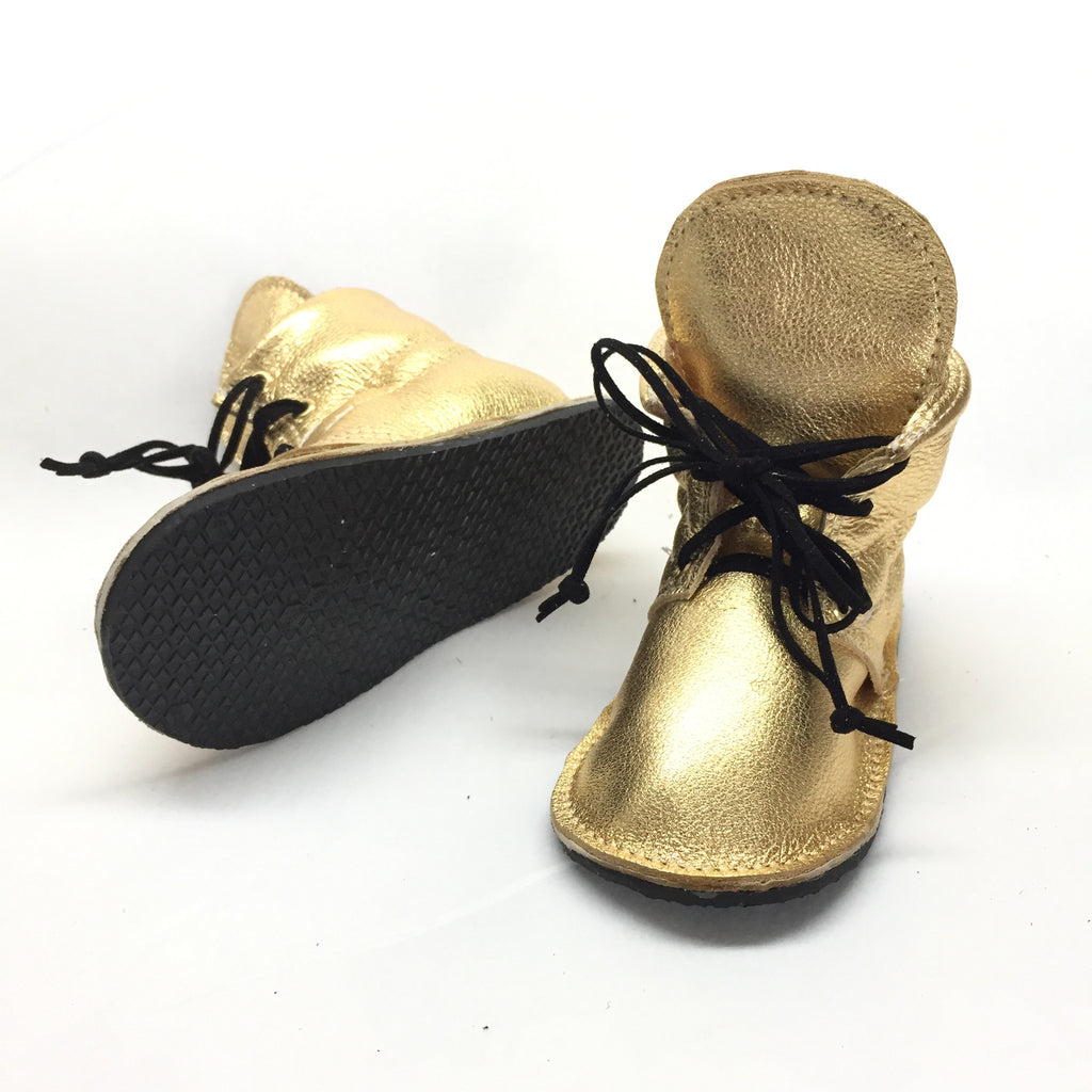 Gold genuine leather high top moccasins with laces mini boots with rubber or soft sole