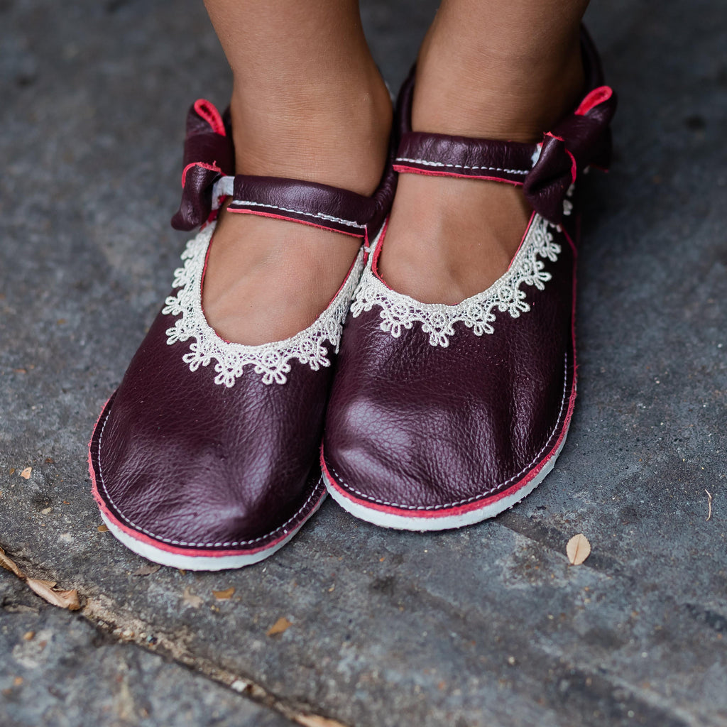 Burgundy Leather and lace side bow mary janes