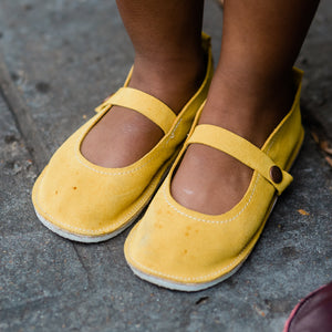 Mustard suede mary janes
