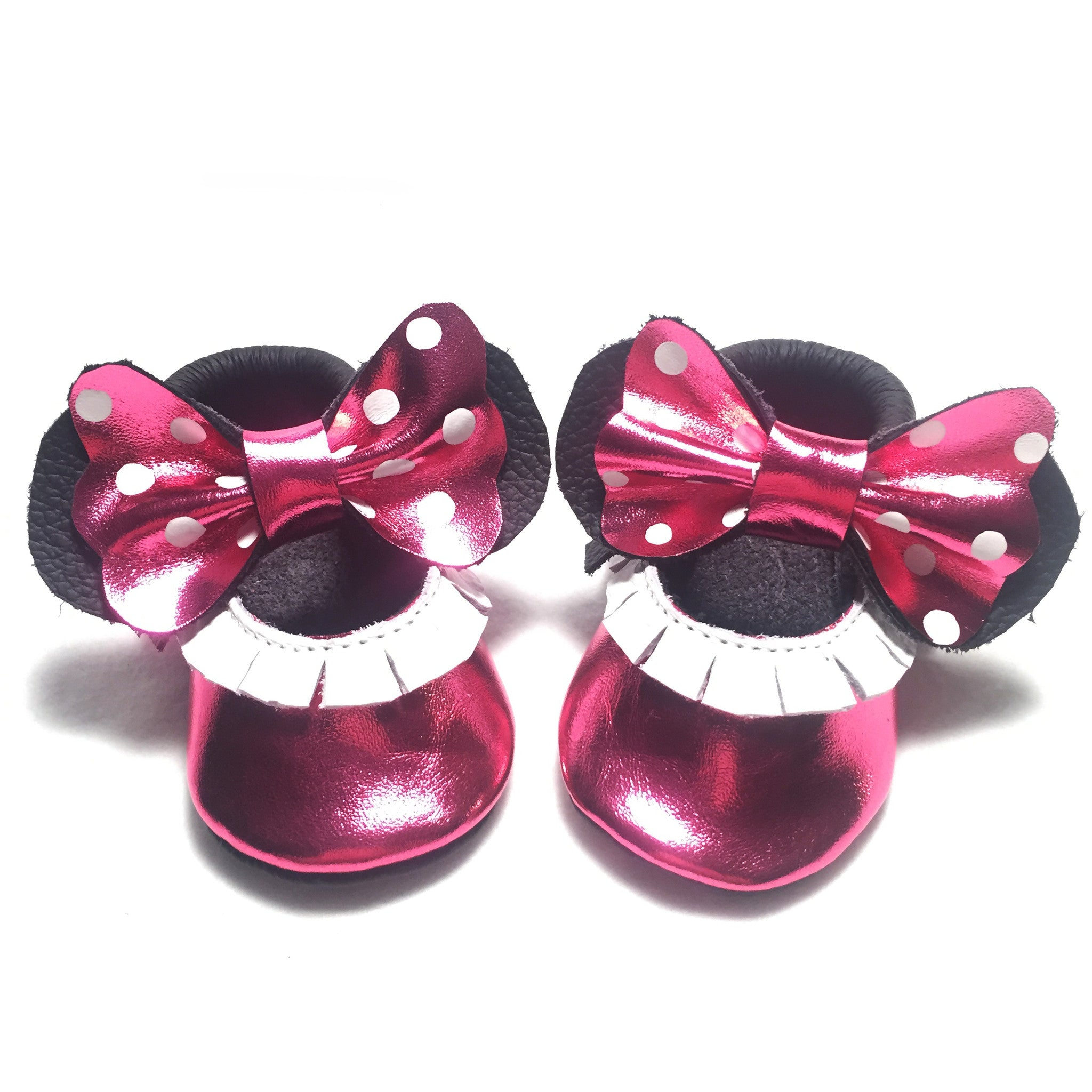 Metallic Hot Pink bow white polka dot Mary Janes
