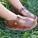Embossed t-straps Mary Janes