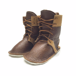 Brown chestnut lace up boots with rubber sole