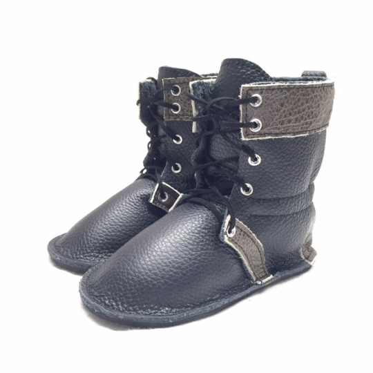 black lace up boots with rubber sole